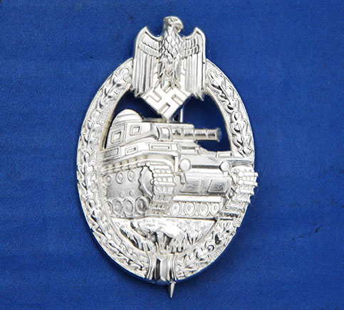 German WWII Army Panzer Assault Badge - Silver